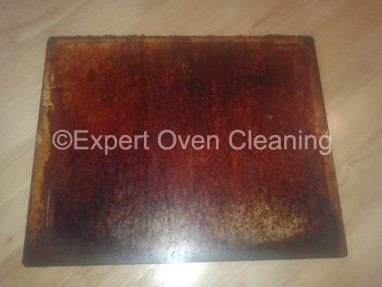oven door glass cleaning before