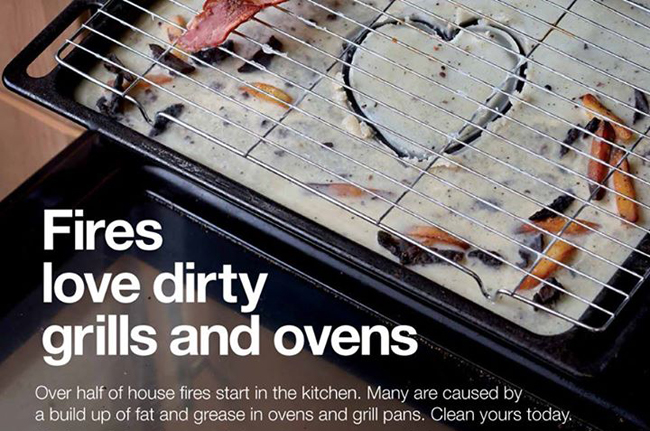 dirty oven fire risk